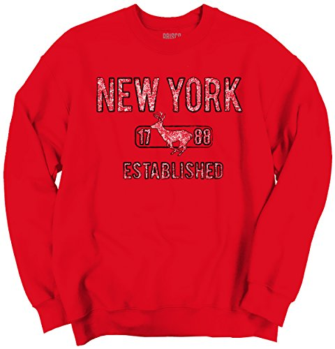 Brisco Brands New York State Pride T Shirt State Flag USA Deer Shirt Gift Crewneck Sweatshirt (Island Staten Deer)