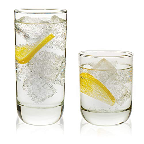 - Libbey Polaris 16-Piece Tumbler and Rocks Glass Set, Clear