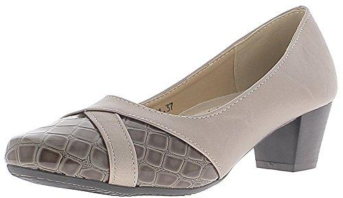 Chaussures Femme Grises Et Mole En Matière Bi Confortable De Petits Talons 4,5 Cm