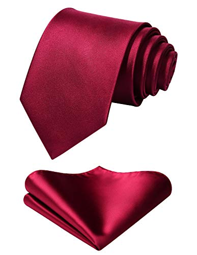 - Mens Solid Burgundy Tie Classic 3.4