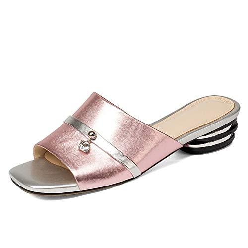 Mules Pink À Carrés Femmes Couleurs Bouts Pingxiannv Cristal Chaussures Pantoufles Rose Cuir Mélangées qRAvw1Tx