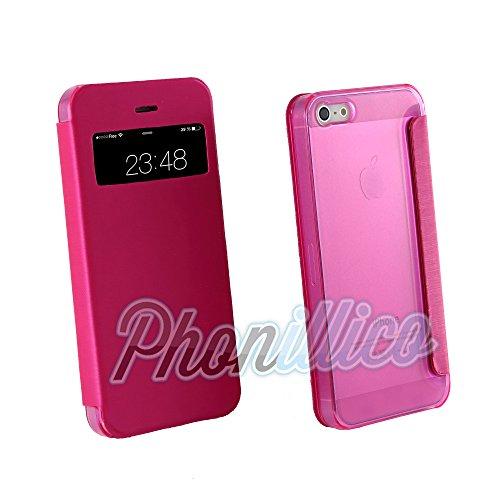 Phonillico® Coque Flip Cover View Rose pour Apple iPhone SE - Coque Housse Etui Case Protection Rabat Fenetre Window View Ultra Slim