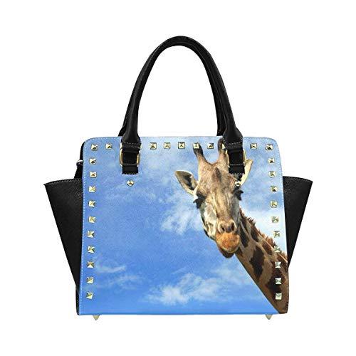 Hobo Giraffe (InterestPrint Women's Curious Giraffe Blue Sky with White Clouds in Wildlife Sanctuary Zip Tote Shoulder Handbag Hobo Crossbody Bag)