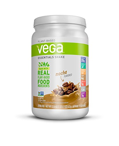 Vega Essentials Shake Mocha(18 Servings, 1 lb 6 oz) - Plant Based Vegan Protein Powder, Non Dairy, Gluten Free, Smooth and Creamy, Non GMO (Best All In One Protein Powder)