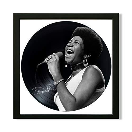 Aretha Franklin Framed Decor Vinyl 13.8x13.8 - Aretha Franklin Unique Wall Art Decor R&B, Soul, Pop, Gospel, Jazz - Best Gift for Music Lover - Original Wall Home Decor