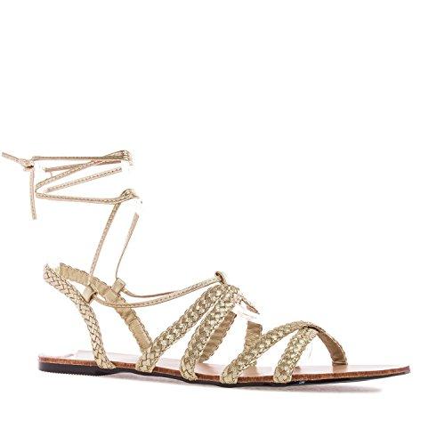 Femininas Sapatos Machado Andres Tamanhos Mais Ouro Sandálias Em De tZE66qw