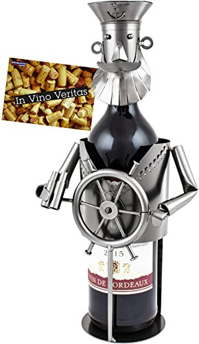 BRUBAKER Wine Bottle Holder 'Boat Captain' - Metal Sculpture - Wine Rack Decor - Tabletop - incl. Greeting Card ()