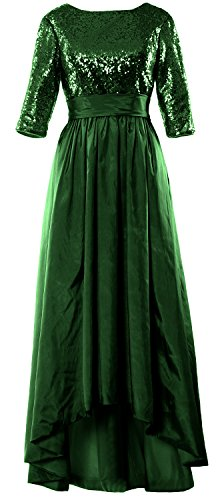 MACloth Women 3/4 Sleeve Sequin Taffeta High-Low Prom Dress Party Formal Gown Verde Oscuro