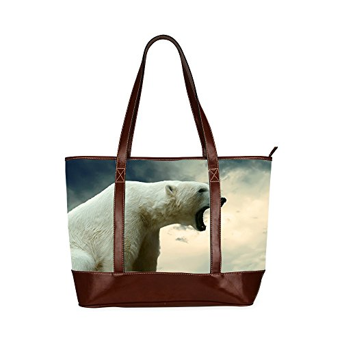 Womens Tote bag, Bear tote bag with Zipper Two-sided Printing