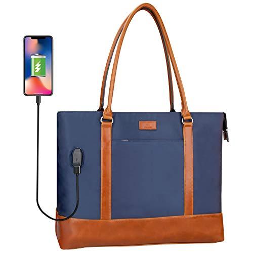Woman Laptop Tote Bag,USB Teacher Bag Work Bag Purse Fits 15.6 in Laptop