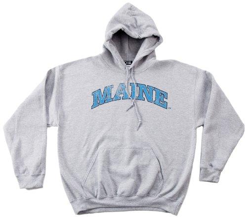NCAA Maine Black Bears 50/50 Blended 8-Ounce Vintage Arch Hooded Sweatshirt, Medium, Sport Grey (Bear Black Hooded Sweatshirt)