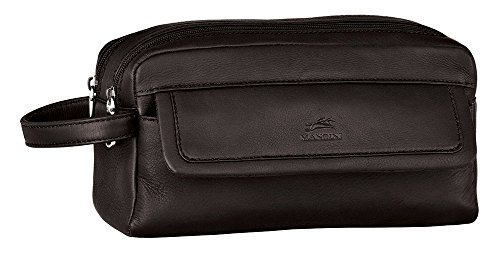 - Mancini Leather Goods Colombian Leather Double Compartment Toiletry Kit (Black)