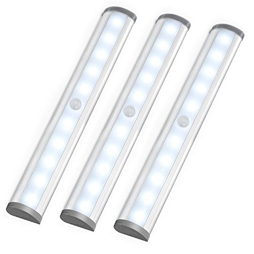 LE LED Closet Light, Motion Sensing Under Cabinet Lighting,10-led Wireless Stick-on Anywhere Stair Lights, LED...