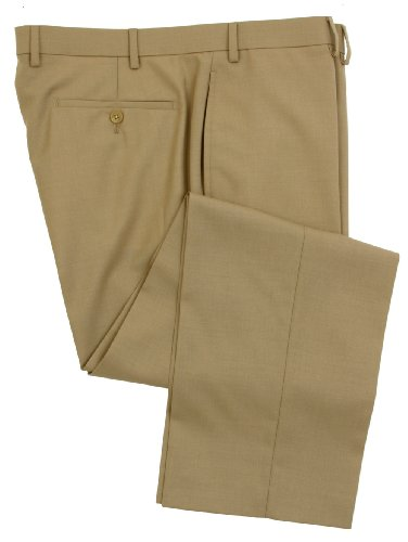 Ralph Lauren Men's Flat Front Solid Tan Wool Dress Pants - Size 34 X34