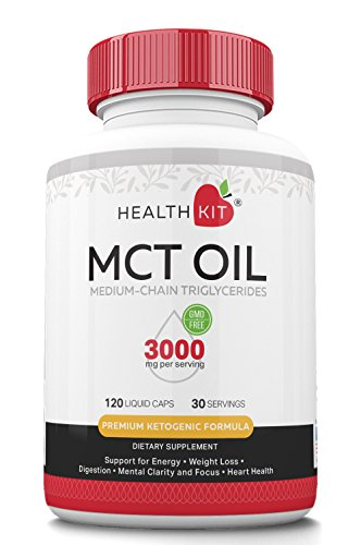 Premium MCT Oil Capsules for Men and Women with Caprylic C8 & Capric C10 Acid. Energy Supplement for Weight Loss, Mental Focus, Metabolism, Endurance, Heart Health. Great for Keto and Paleo Diets by HealthKit