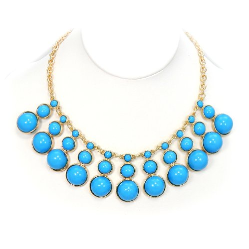 Pro Jewelry Bib Bauble Necklace in Baby Blue Acrylic Beads w/ Gold Chain 0029-5