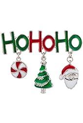 Lux Accessories Ho Ho Ho Merry Christmas Xmas Santa Claus Candy Tree Brooch Pin