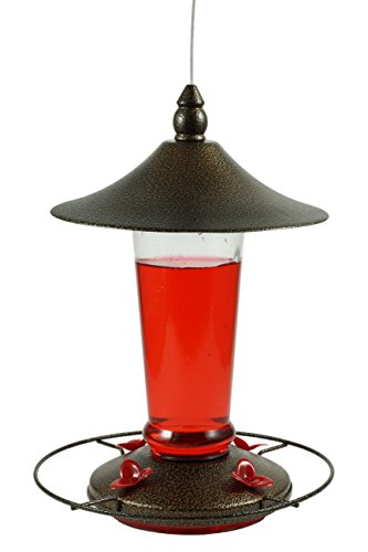 Prime Durable Hanging Metal & Bottle Glass Hummingbird Feeder Attract More Hummers to Your House & Outdoor Garden Watch Them from Your Window Features 4 Red Flower Feeding Ports 13 Fluid Oz (Glass Wood Feeder)