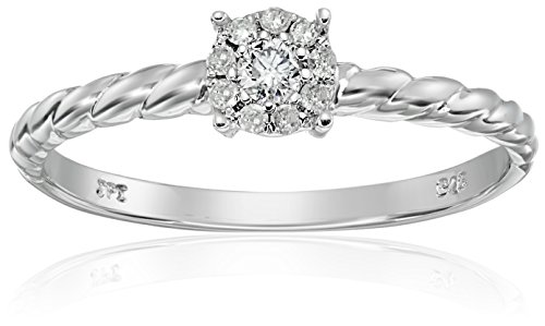 Sterling Silver Rope Cluster Diamond Ring (1/10 cttw, I-J Color, I2-I3 Clarity), Size 6 Cut Diamond Cluster Ring