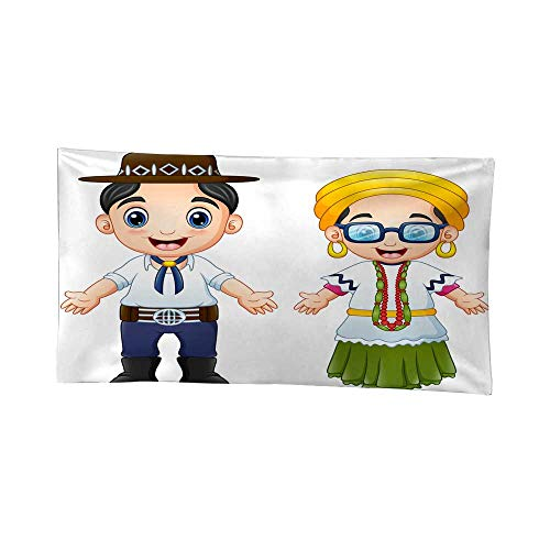 Nicely Tapestries Cartoon Brazilians Couple Wearing Traditional Costumes Wall Tapestries for Bedroom 91W x 60L Inch
