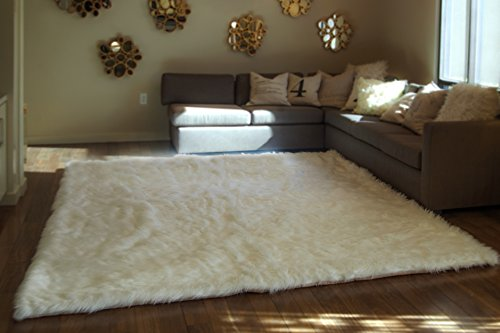 5'x8′ White Shaggy Fur Faux Fur Rug Rectangle Shape Plush Soft Modern Fur Rug Living Room Area Rug For Sale
