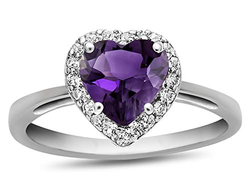 - Finejewelers 10k White Gold 6mm Heart Shaped Amethyst with White Topaz accent stones Halo Ring Size 8