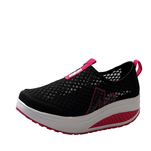 Feitengtd Breathable Sneaker, Women Casual Sneakers Ladies Loafers Air Mesh Swing Wedges Running Shoes (Black, US:6)