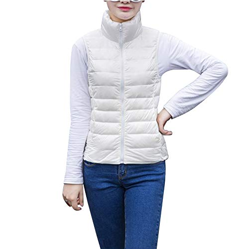 pour vers Gilets Femmes et Vêtements Warmer bas Gilet de le Uirend rembourrée Vestes légère Manteaux White Short Zipper Sleeveless Body Veste Gilets qPw5xC0