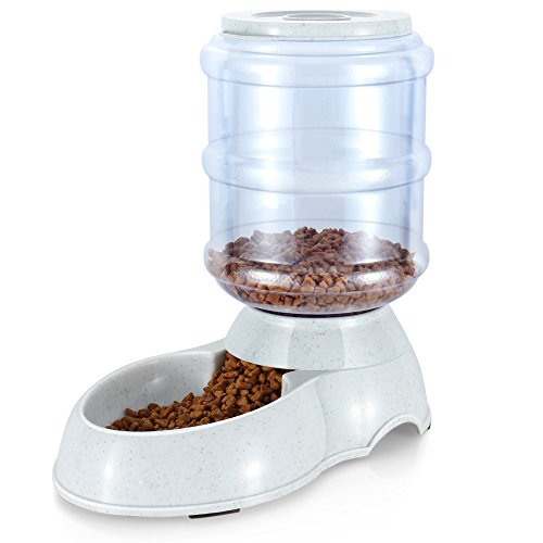 Dry Food Feeder (Flexzion Pet Feeder Food Dispenser Station - Replenish Pet Food for Dog Cat Animal Automatic Gravity Dry Food Storage Bottle Bowl Dish Stand - (4-6 LB Pound) Small, Medium Size)