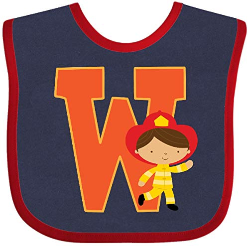 Inktastic - Firefighter Letter W Monogram Fireman Baby Bib Navy and Red 2230f (Bib Baby Initial)