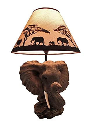 Amazing `Safari Light` Elephant Head Table Lamp W/ Silhouette Shade