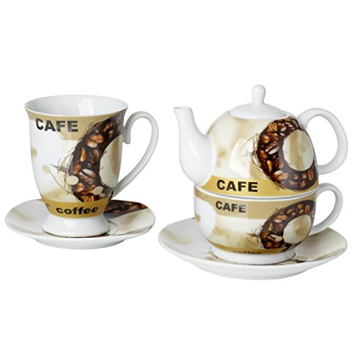 Original Cucina Italiana Porcelain Coffee, Tea for One, Stackable Teapot Cup Saucer, With Mug Bean Design