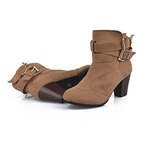 Faux Ankle Zipper Boots Strappy Size Women Stylish Heels Belt Brown SUKEQ Buckle Chunky qZHEwO4RWx