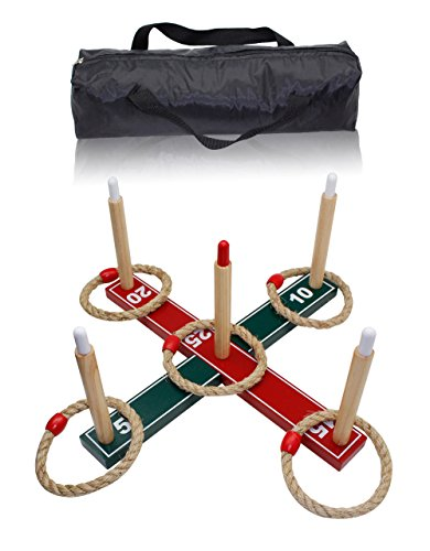 Fun Sports Ring Toss Game Set Includes carrying bag and 5 Rope Rings - Indoor & Outdoor Throwing Game for Children and Adults Model 3067 by Fun Sports