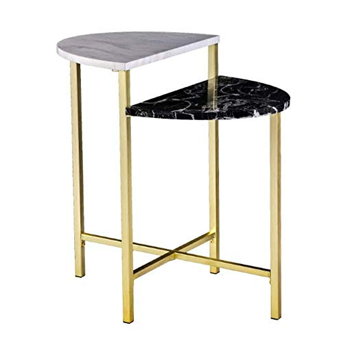 NAN Liang Artis Marble Side Table, Half Moon Console Table, Coffee Table, Bedroom Bedside table, 17.7