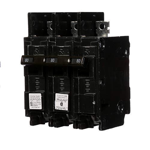 Siemens BQ3B080 80-Amp Three Pole 240-Volt 10KAIC Lug In/Lug Out Breaker (Siemens 80 Amp Breaker)