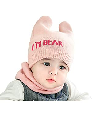 2Pcs/Set Fashion Cute Letter Pattern Newborn Baby Cap + Scarf Suit Warm Knitted Hat Neck Warmer Gaiter
