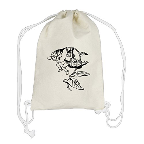 Color-In Gnome Jumping From Plant Canvas Cotton Drawstring Bag Backpack