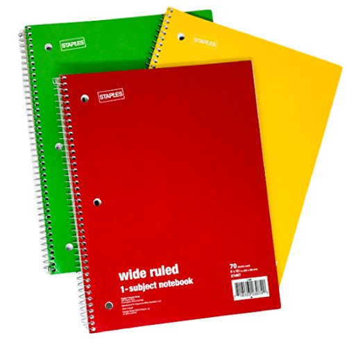 Staples Wide Ruled Spiral Notebook 1 Subject 70 Sheets Set Of 3 Yellow Red Green