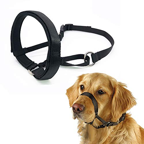 - Barkless Quick Fit Nylon Dog Muzzle, Adjustable Loop, Anti-Barking, bting and Chewing Muzzle for Small, Medium, Large Dogs (M, Black)