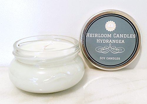 Floral Candle - Hydrangea Scented Soy Candle - Handmade Glass Jar, 6oz - Floral Jar Candle