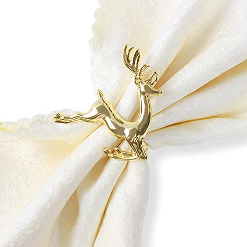 KissDate Napkin Rings, 6Pcs Gold Elk Chic Napkin Rings for Place Settings, Wedding Receptions, Christmas, Thanksgiving and Home Kitchen Dining Table Linen Accessories by KissDate (Image #3)