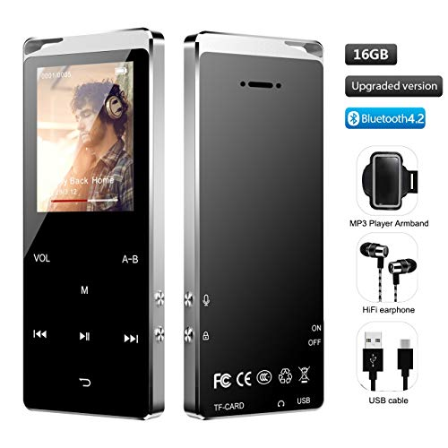 MP3 Player, Hieha Portable Bluetooth 4.2 Lossless Sound Music Player with eBook FM Radio Recording Function 16GB 1.8 inch Touch Control Panel + arm Bands