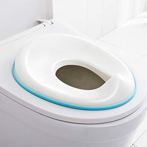 (FORUP Potty Training Seat for Kids, Non Slip with Splash Guard, Fits Round or Oval Toilets, Includes Free Storage Hook (White))