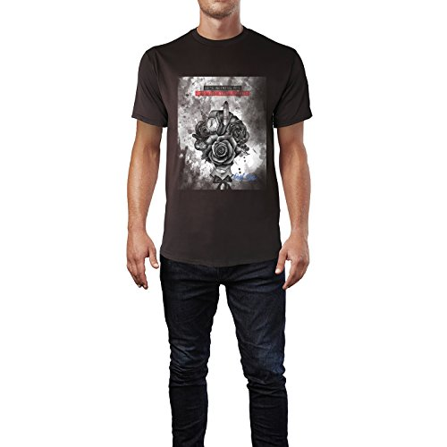 SINUS ART® Modeillustration mit Blumenkopf Herren T-Shirts in Schokolade braun Fun Shirt mit tollen Aufdruck