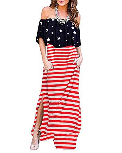 BYSBZD Women's July 4th American Flag Printed Dress Open Dress Ruffle Maxi Beach Dress with Pockets Red 3XL (Star Dress)