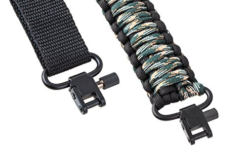 Rifle Sling 550 Paracord - 2 Point - Survival Hunting Shooting - Extra Strong Multi Use (Black Green Camo)