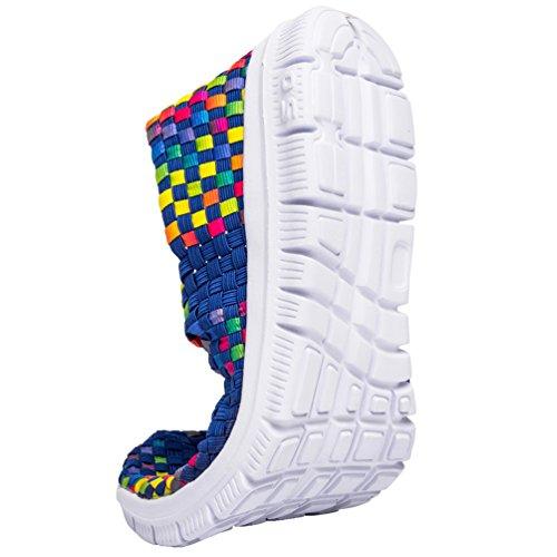 Sanearde Women Slip On Walking Shoes Woven Elastic Mary Jane Flat Lightweight Fashion Sneakers Blue 3eMLskIWi