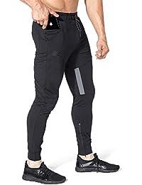 Mens Thigh Mesh Gym Jogger Pants, Men's Casual Slim Fit Workout Bodybuilding Sweatpants with Zipper Pocket