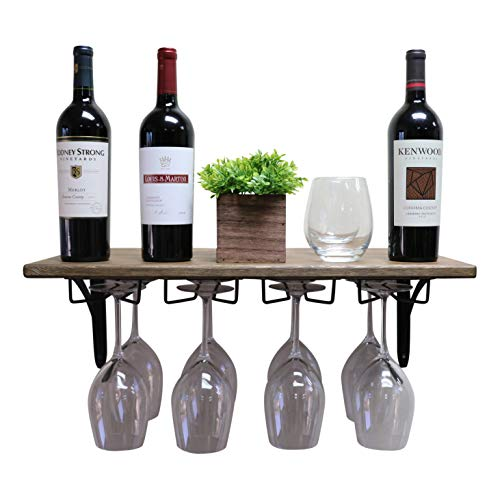 SDI Designs Handmade Wall Mounted Wine Glass Rack Floating Shelf, Wine and Liquor Storage Shelf, The Weathered Collection in Barnwood Brown ()
